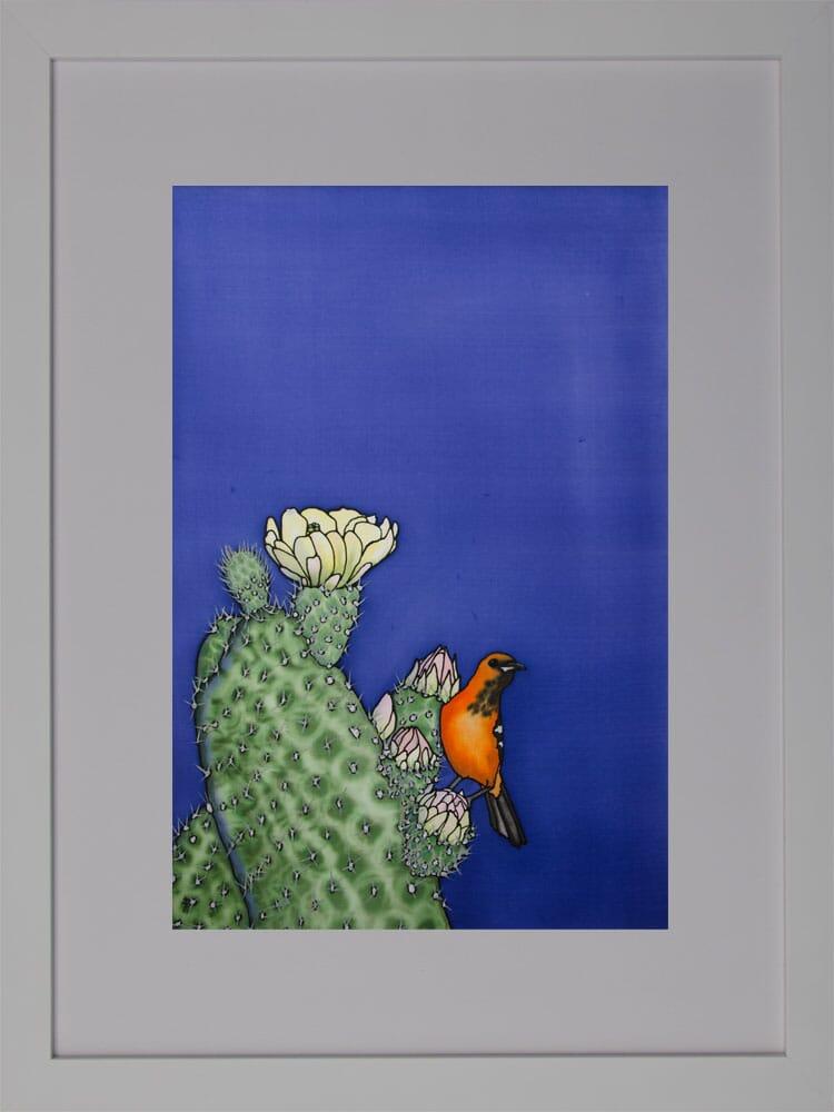 A Prickly Perch - Orange Oriole and Cactus